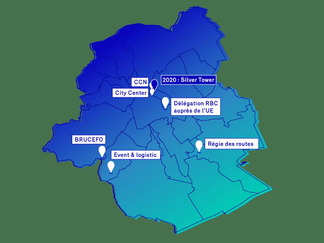 Situation projetée : les différents sites du Service public régional de Bruxelles fin 2020 [Brucefo, Event & Logistic - Lusambo, Régie des routes - Delta, Délégations RBC auprès de l'UE, Silver Tower]