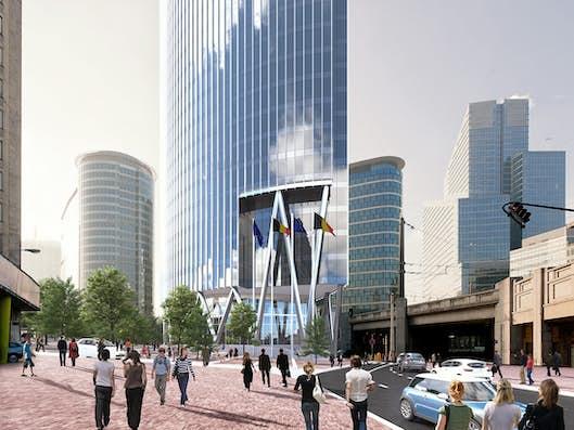 Vue en image de synthèses de la Silver Tower, futur siège du Service public régional de Bruxelles