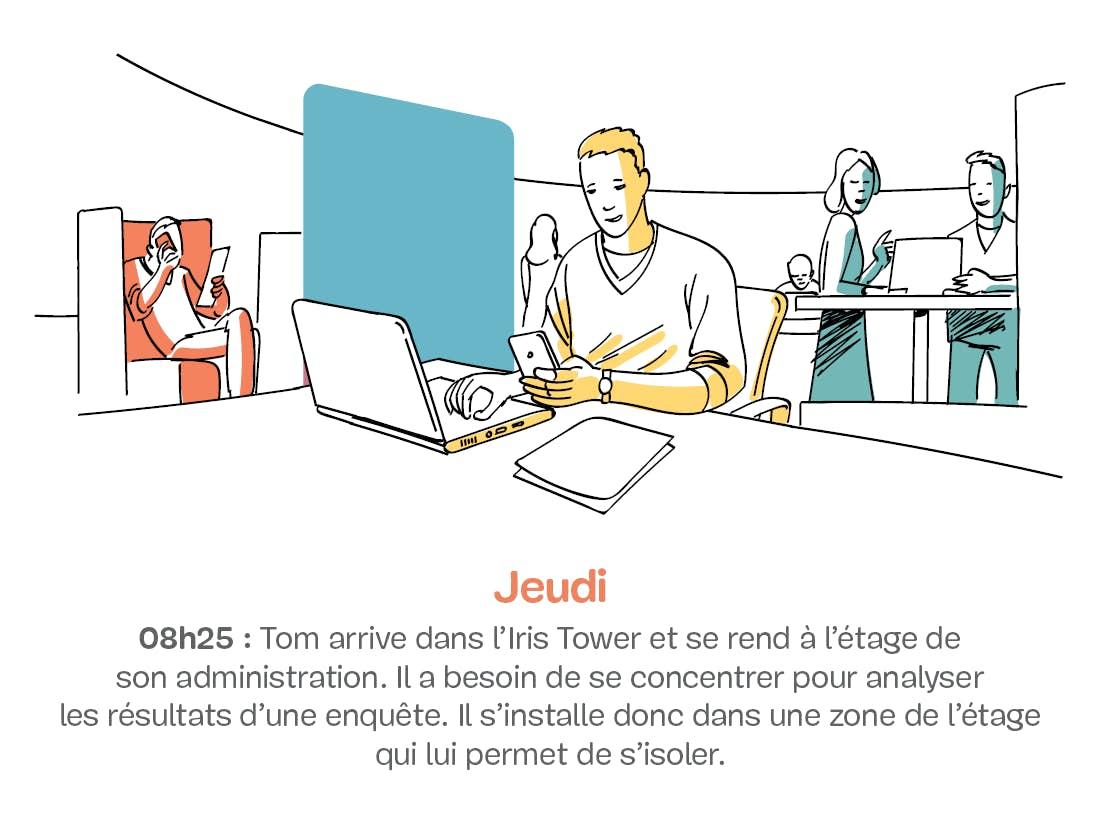 Homme travaillant sur un ordinateur portable dans un open space