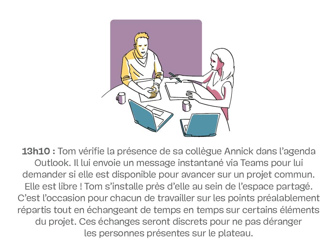 Un homme et une femme discutant à une table