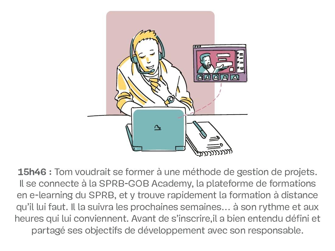 Homme en visioconférence sur un ordinateur portable