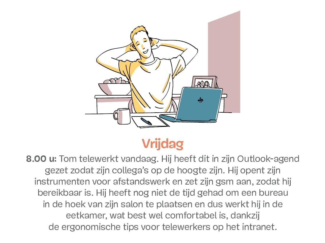 Man aan het werk thuis op laptop