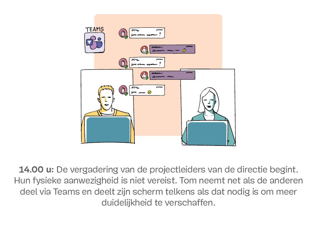 Computerscherm waarop een videoconferentie wordt weergegeven