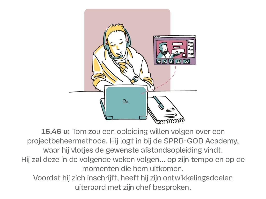 Man doet een videoconferentie op een laptop