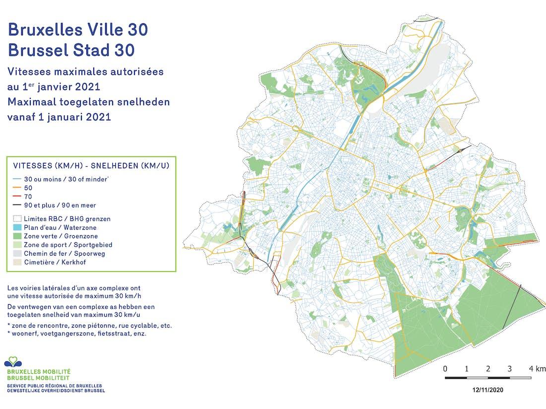 Carte de Bruxelles reprenant les vitesses maximales autorisées