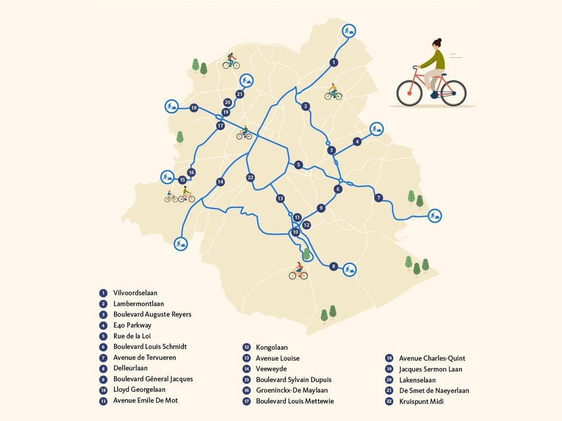 Carte des 40 km de nouvelles pistes cyclables à Bruxelles