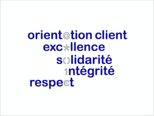 Orientation client, excellence, solidarité, intégrité, respect